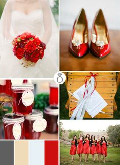 Red - simple color theme that pops against all the beautiful green & blue.