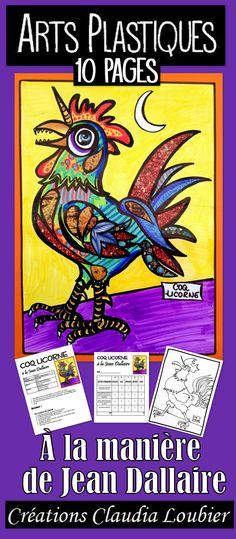 Il est important de faire connaître nos artistes québécois à nos élèves. Voici un projet à la manière de Jean Dallaire : le Coq licorne. Un mélange de dessin et de collage de revue. Quelques étapes simples pour un résultat magnifique. À la fin du document, vous aurez aussi un petit exercice pour enrichir et occuper nos plus rapides. Démarche, photos et grille d'évaluation incluses. Projet original pour Pâques. 2e cycle et plus. Art Education Lessons, Art Lessons For Kids, Art For Kids, School Art Projects, Art School, Picasso Cubism, Classe D'art, Art History Memes, Ecole Art