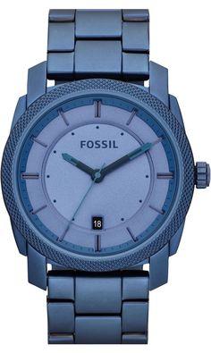 Capri Jewelers Arizona  ~ www.caprijewelersaz.com FOSSIL Machine Stainless Steel Watch Blue #FS4707 , Fossil Watch Men