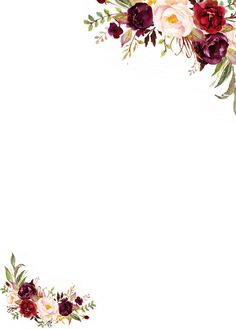 Watercolor Floral Clip Art Marsala Individual PNG Files Hand Painted