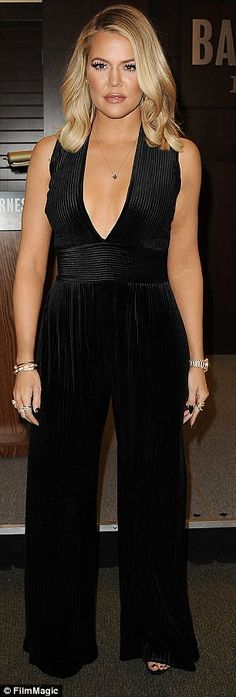 Khloe Kardashian stuns in cleavage baring jumpsuit at her LA book signing | Daily Mail Online