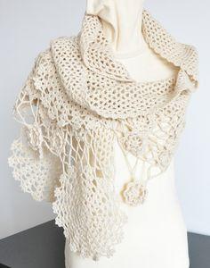 Crochet Beige Color Scarf/Shawl by jennysunny on Etsy