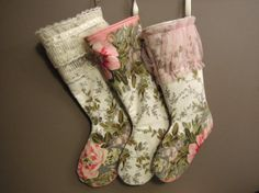 Shabby Chic Christmas Stocking Vintage Print by ChristmasCreate, $35.00