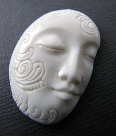 Decorative Balinese Face Carved Bone Pendant by Indounik on Etsy, $15.00