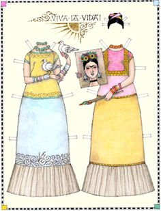 Frida Kahlo, Viva la Vida, a paper doll by Donald Hendricks (2 of 2)