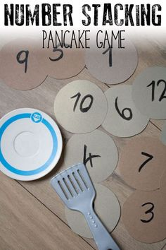 Easy to make and set up number game for toddlers and preschoolers based on the book If You Give a Pig a Pancake by Laura Numeroff and ideal for Pancake Day activities. games for toddlers Numbers Preschool, Preschool At Home, Toddler Preschool, Classroom Activities, Preschool Learning, Toddler Activities, Preschool Activities, Pancake Day Eyfs Activities, Number Activities For Preschoolers