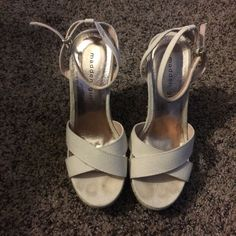 """Madden Girl Espadrille Wedges These wedges are perfect for a spring or summer day or night out! They have a 4"""" heel and 1"""" platform. They are held on by a ankle strap with gold clasp. These were worn once for a wedding this past summer! Madden Girl Shoes Espadrilles"""