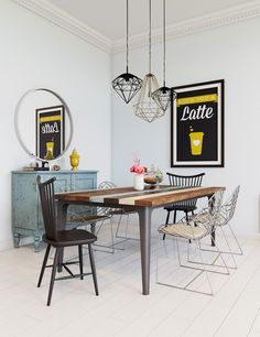 contemporary dining room furniture ideas wooden table wire dining chairs wire pendant lights