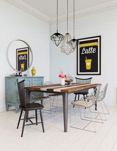suspensions diamant et table salle à manger en bois recup