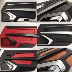 custom door panels inserts, fiberglass, router work.... modern chevelle maybe? brown orange tan beige and black red and silver grey mesh, and aluminum, carbon fiber