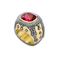 Theo Fennell - Rubellite Gothic Ring | 18ct Yellow Gold, Black Rhodium, Rubellite (7.59ct) & Diamond (1.02ct)