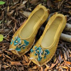 Retro Flower Splicing Soft Leather Flat Women Single Shoes