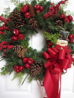 CLASSIC RED GREEN Winter Christmas And Beyond 30-Inch Wreath Free Shipping. $140.00, via Etsy.