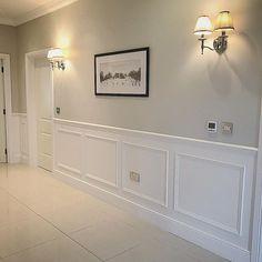 Wall colour is Farrow & Ball Skimming Stone Farrow And Ball Living Room, Home Living Room, Living Room Decor, Home Room Design, Home Interior Design, House Design, Living Room Panelling, Hallway Inspiration, Hallway Designs