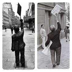 Manuel Castro el malabarista del periódico #Vigo #ARTE