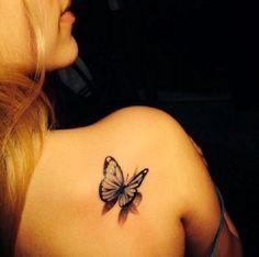 3D butterfly tattoo 36 - 65 3D butterfly tattoos   <3