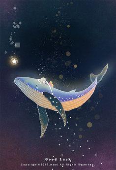 The mission of a star on Behance Fanart, Whale Art, Wale, Delphine, Beautiful Gif, Kawaii Wallpaper, Anime Scenery, Whimsical Art, Cute Illustration