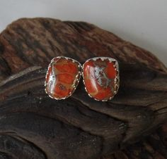 Orange Mohave Turquoise and Sterling post earrings by RustyWing
