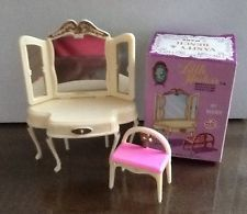 Vintage Marx miniature dollhouse vanity and stool in the original box