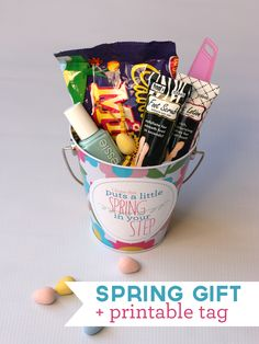My Sister's Suitcase: Spring Gift Idea and Printable Tag - this would be a sweet little gift to pop in the mail for a loved one