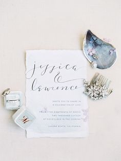 Coastal inspired invitations: http://www.stylemepretty.com/2016/05/02/an-oceanside-wedding-planned-in-4-months-flat/ | Photography: Luna De Mere -  http://lunademarephotography.com/