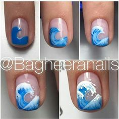 Here are some hot nail art designs that you will definitely love and you can make your own. You'll be in love with your nails on a daily basis. Wave Nails, Sea Nails, Ocean Nail Art, Vacation Nails, Japanese Nail Art, Nagel Gel, Creative Nails, Perfect Nails, Cool Nail Art
