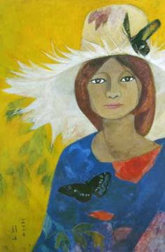 (Korea) A Girl with a Hat 1973 by Chun Kyung-ja 1924-2015. Korea. 천경자