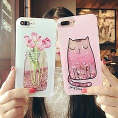 Cartoon Cat Flower Perfume Bottle Quicksand Dynamic Liquid Glitter Phone Case For iPhone 6 6s Plus Cases For Iphone 7 plus Case