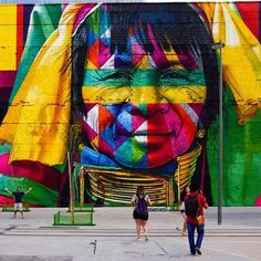 "Eduardo Kobra, ""Todos Somos Um"" with native and indigenous people from 5 continents, for Olympics 2016 in Rio de Janeiro, Brazil, 2016, detail"