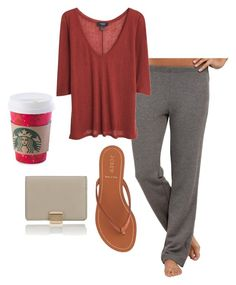 """Early morning Starbucks run"" by lauren-rounds on Polyvore featuring Cosabella, MANGO, J.Crew, Smythson and starbucks"