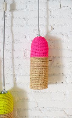 Natural raffia lamp with textile cable, switch and plug - neon pink on Etsy, $82.30