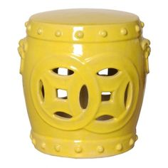 THE WELL APPOINTED HOUSE - Luxury Home Decor- Double Fortune Ceramic Stool in Yellow - Porcelain Garden Seats - Furniture from www.wellappointedhouse.com #homedecor #garden #furniture