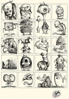 """Series of Sketches made with ballpoint pen on paper. """"Little and quick Concepts for Great Ideas"""" Creepy Drawings, Creepy Art, Weird Art, Cartoon Drawings, Cartoon Art, Drawing Sketches, Art Drawings, Creepy Sketches, Monster Sketch"""