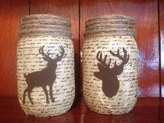 Rustic Deer mason jar Candle Holders