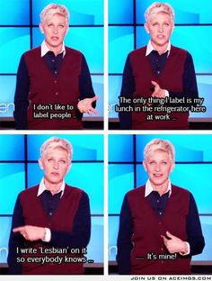 "I've loved Ellen since before she was Ellen and back when she was in that movie ""Mr. Wrong"", which was...so monumentally wrong. Lol! km"