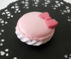 Pink Macaroon Charm With Pink Bow, Kawaii Squishy on Etsy, $3.99