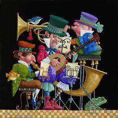 James Christensen - Trio Original Oil Painting