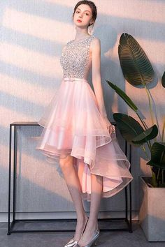 Pink tulle sequin short prom dress, pink homecoming dress prom outfits, c. Open Back Prom Dresses, High Low Prom Dresses, Pink Prom Dresses, Grad Dresses, Pretty Dresses, Homecoming Dresses, Beautiful Dresses, Evening Dresses, Short Dresses