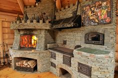 Stone Fireplace Decor, Outdoor Stone Fireplaces, Outdoor Fireplace Designs, Backyard Kitchen, Outdoor Kitchen Design, Rustic Kitchen, Backyard Sheds, Backyard Patio Designs, Earth Bag Homes