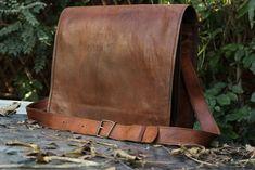 6cb6238177921 Mens Large Real Leather Vintage Brown Messenger Shoulder Laptop Briefcase  Bag  Handmade  LaptopBag Messenger