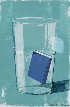 Reading refreshing: tea-book by Eva Vazquez I Love Books, Good Books, Books To Read, Fritz Kola, Book Art, Es Der Clown, Reading Art, Tea Reading, Reading Time