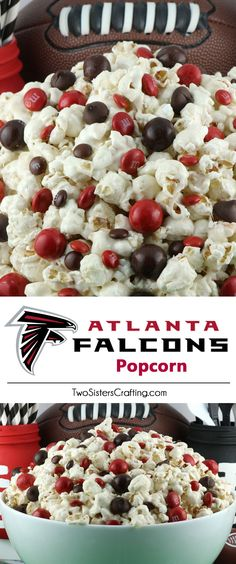 Atlanta Falcons Popcorn for those Atlanta Falcons fans in your life. Sweet, salty, crunchy and delicious and it is extremely easy to make. This delicious popcorn will be perfect at your next game day football party. a NFL playoff party or a Super Bowl party. Follow us for more fun Super Bowl Food Ideas.