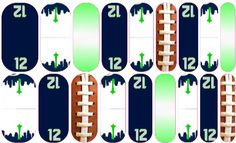 Seattle Seahawks Jamberry Nail Wraps Contact me at ali.jamberrynails@aol.com to order this custom design! Shop at http://mrss.jamberrynails.net