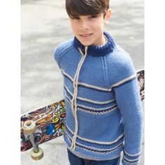 Caron Getting Cold Zip Jacket Free Knit Pattern for Boys. Skill Level   Intermediate Sizes  8 and 10 years This active and on-trend zip-up sweater  will keep ... f8812df4d