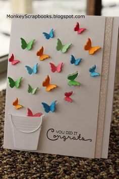 Impression Obsession PAIL thin metal die, bucket, Made in USA Handmade Birthday Cards, Greeting Cards Handmade, Paper Cards, Diy Cards, Impression Obsession Cards, Tarjetas Diy, Birthday Card Drawing, Butterfly Cards, Butterfly Wings