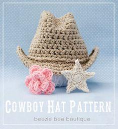 Items similar to Crochet Cowboy Hat with Custom Detatchable Star - Photography Prop - NEWBORN size on Etsy Crochet Cowboy Hats, Crochet Baby Hats, Crochet For Kids, Crochet Clothes, Crochet Toys, Knitted Hats, Knit Crochet, Crochet Outfits, Crochet Children