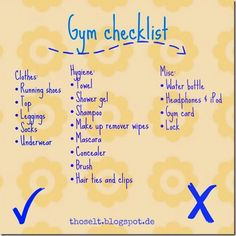 Gym bag checklist