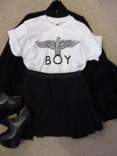 need a BOY london tee. High Fashion, Womens Fashion, Fashion Sets, Boy London, Ladies Night, Custom T, Cheer Skirts, Street Style, Fashion Outfits