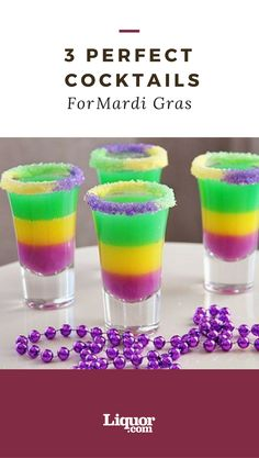 These 3 #cocktails are colorful, #fun, and just in time for the #MardiGras holiday!