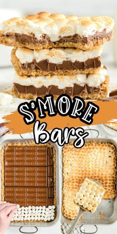 S'mores Bars Recipe (Starbucks Copycat Recipe) All the delicious flavors of a s'more in this easy and gooey dessert! Graham cracker crust, melted chocolate bars, and mini marshmallows all baked in the oven to create this easy anytime dessert! Kid Desserts, Desserts To Make, Delicious Desserts, Yummy Food, Easy Kids Dessert Recipes, Easy Summer Desserts, Homemade Desserts, Health Desserts, Smores Bar Recipe